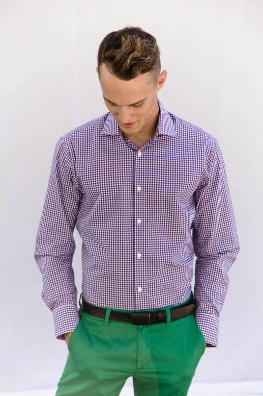 Purple and Navy Gingham Shirt