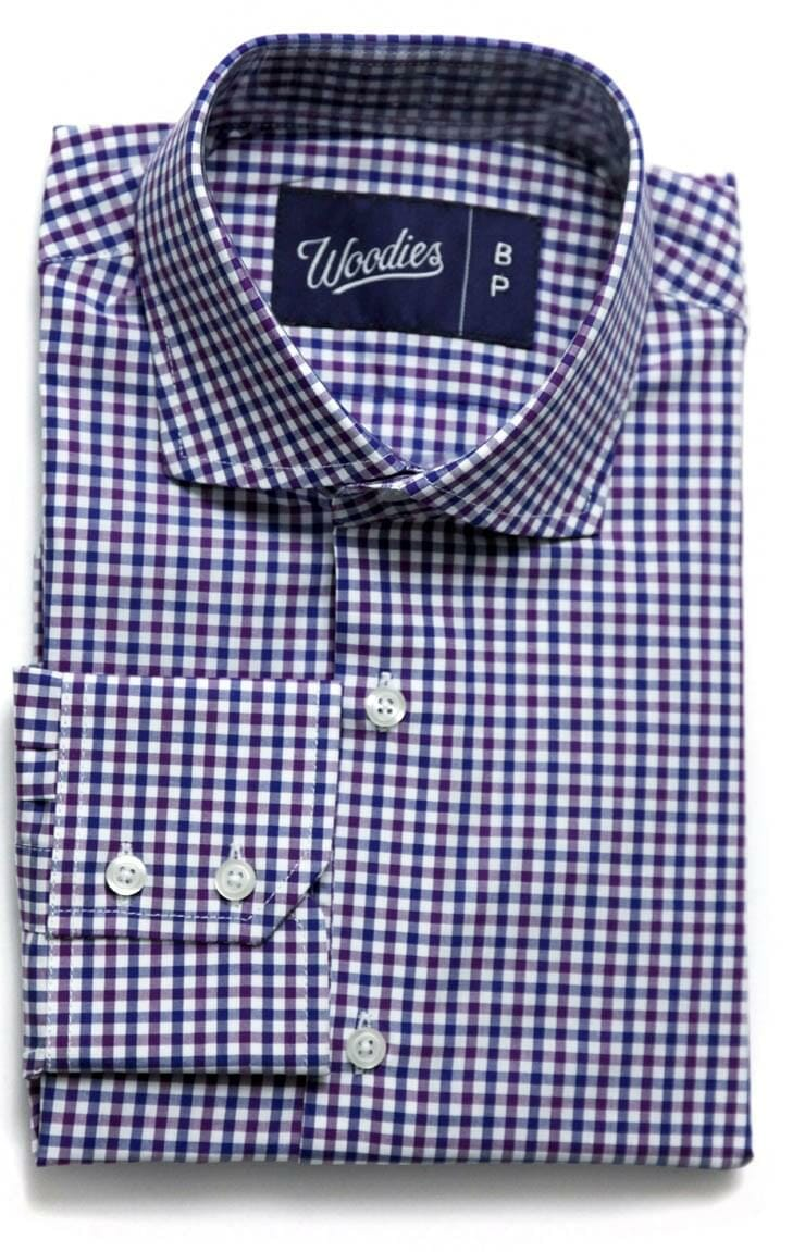 Purple and navy gingham casual dress hybrid check plaid for Navy blue gingham shirt