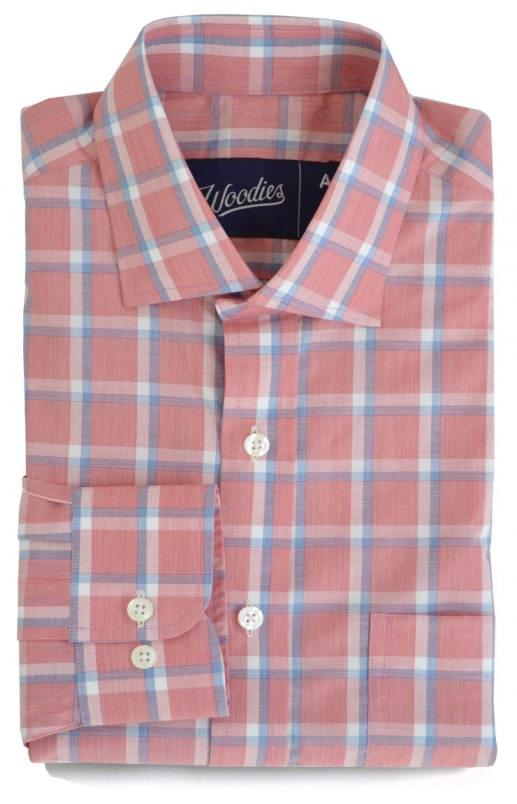 Pink with Blue and White Check Shirt