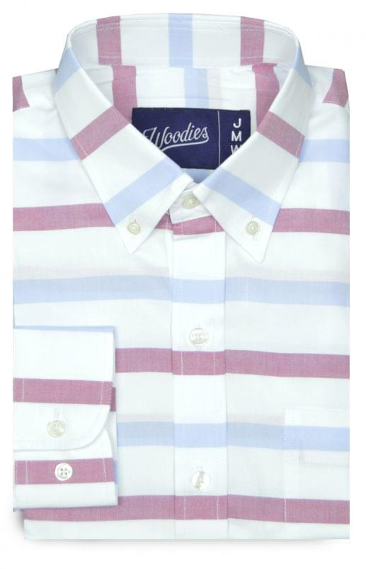 Blue & Red Horizontal Stripe Oxford Shirt