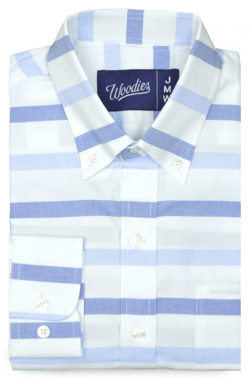 Multi Blue Horizontal Stripe Oxford Shirt