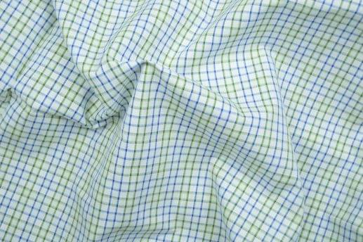 Blue and Green Bordered Gingham Easy Care Shirt