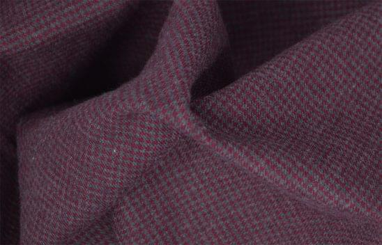 Maroon and Grey Houndstooth Flannel Fabric