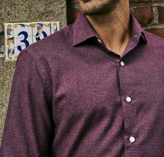 Maroon and Grey Houndstooth Flannel On Figure