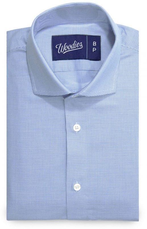 Mini Light Blue Houndstooth Non-Iron Shirt