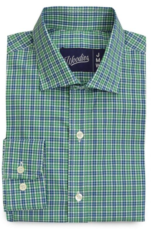 Green White & Blue Mini Plaid Shirt
