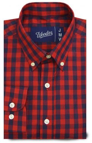 Navy Red Medium Gingham Custom Shirt