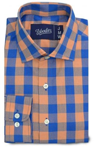 Light Orange & Blue Large Gingham Custom Shirt