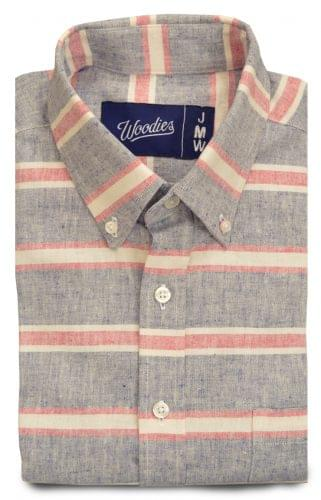 Blue and Red Horizontal linen Stripe