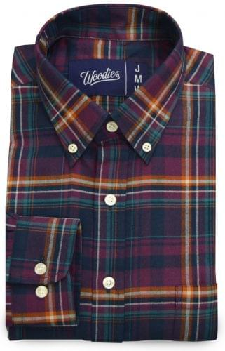 Purple Orange White Plaid Custom Dress Shirt