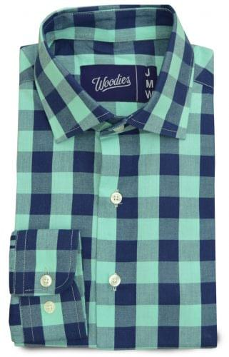 Navy & Teal Large Gingham Custom Shirt