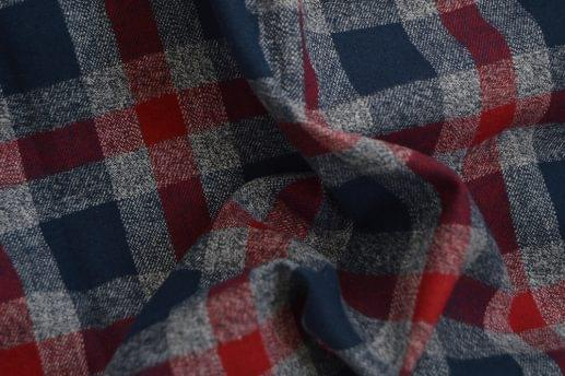Heathered Grey, Blue & Red Flannel