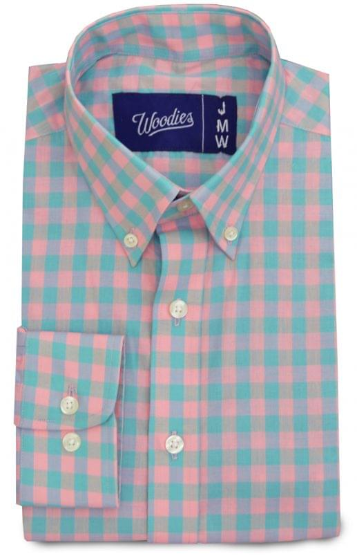Teal and Pink Medium Gingham Shirt