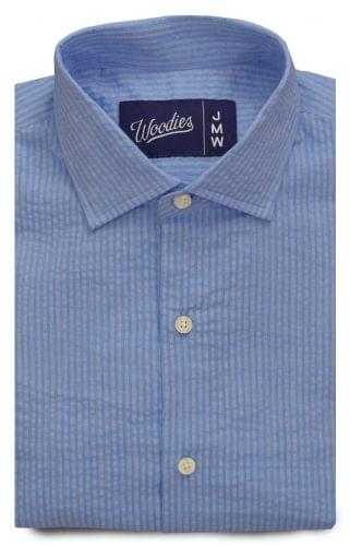 Blue Tonal Stripe Seersucker Shirt