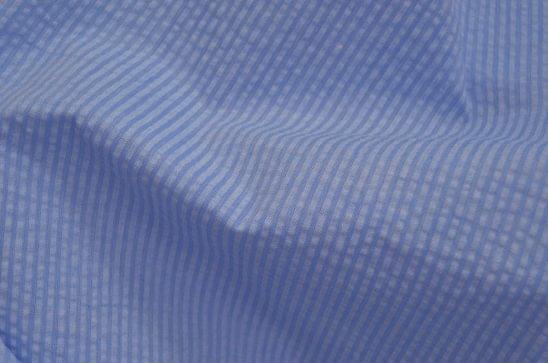 Blue Tonal Stripe Seersucker Shirt Fabric