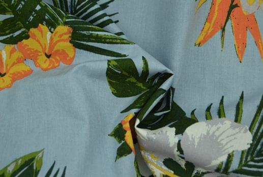 Light Blue Hawaiian Floral Printed Shirt