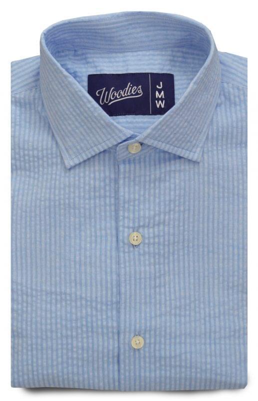 Light Blue Tonal Stripe Seersucker Shirt