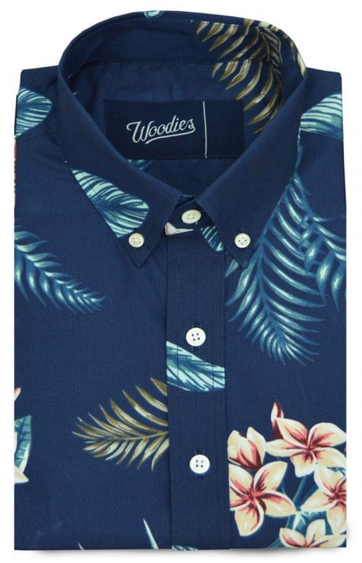 Navy Hawaiian Floral Printed Shirt