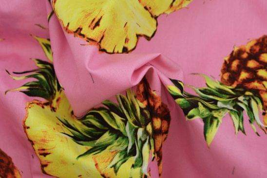 Pink Pineapple Printed Shirt Fabric