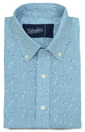 Printed Swimmer Linen Shirt