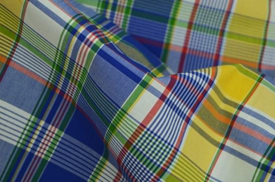 Yellow and Blue Plaid Madras Fabric