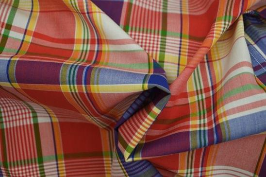 Multi Colored Fine Plaid Madras Fabric
