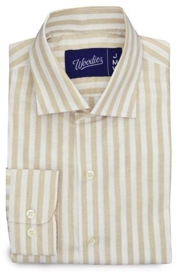 Beige Chalk Stripe Linen Blend Shirt