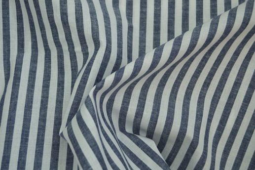 Blue Grey Chalk Stripe Linen Blend Shirt