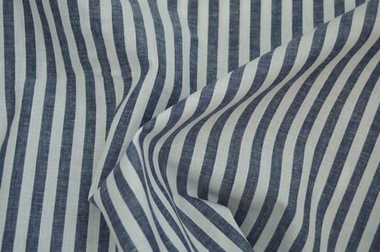 Blue Grey Chalk Stripe Linen Blend Shirt Fabric