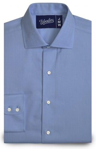 Blue Medium Herringbone Easy Care Shirt