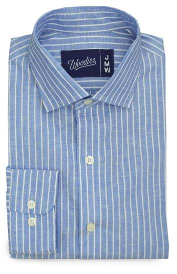 White Striped Blue Linen Blend Shirt