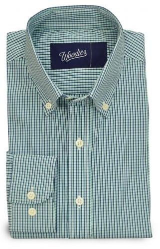 Green & Navy Stretch Easy Care Plaid Shirt