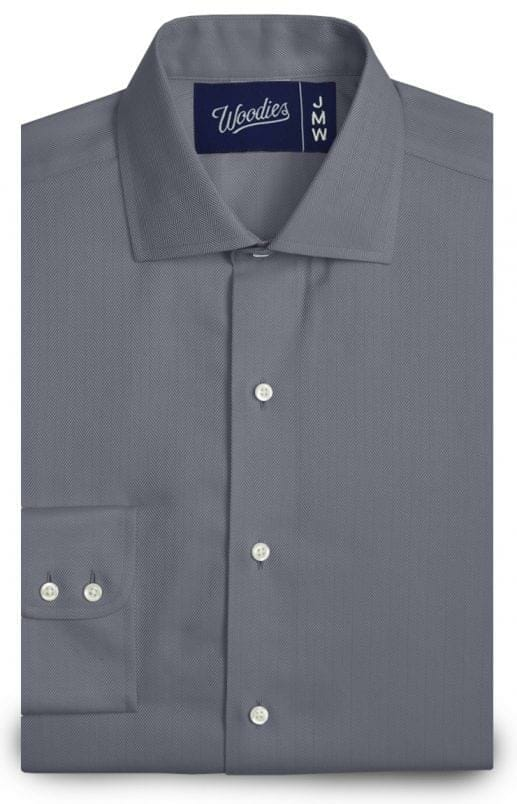 Blue Grey Medium Herringbone Easy Care Shirt