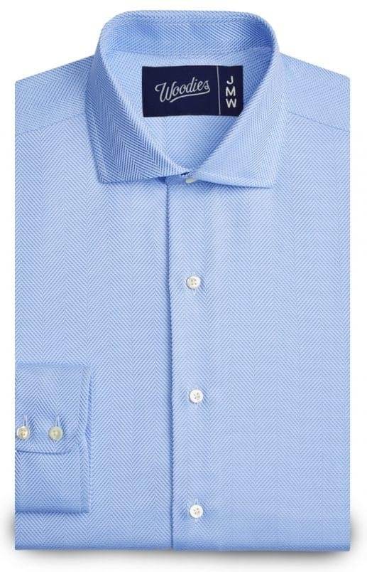 Light Blue Large Herringbone Easy Care Shirt