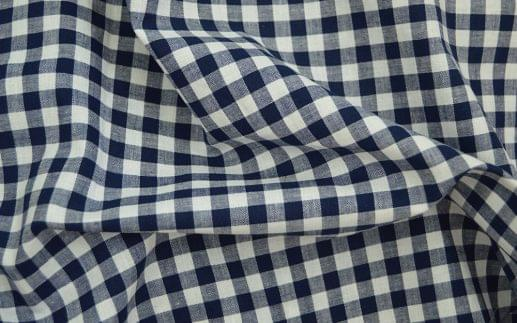 Navy Gingham Linen Blend Shirt