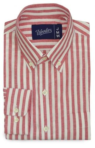Red Chalk Stripe Linen Blend Shirt