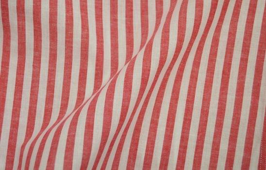 Red Chalk Stripe Linen Blend Shirt Fabric