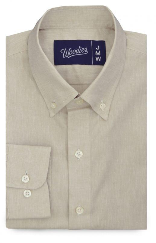 Solid Beige Linen Blend Shirt