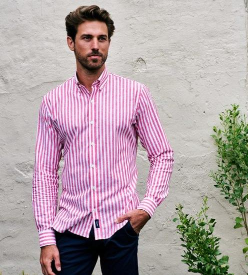Red Candy Striped Linen Shirt