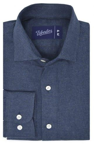 Blue and Grey Houndstooth Flannel