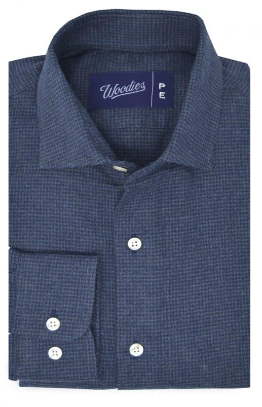 Blue & Grey Houndstooth Flannel