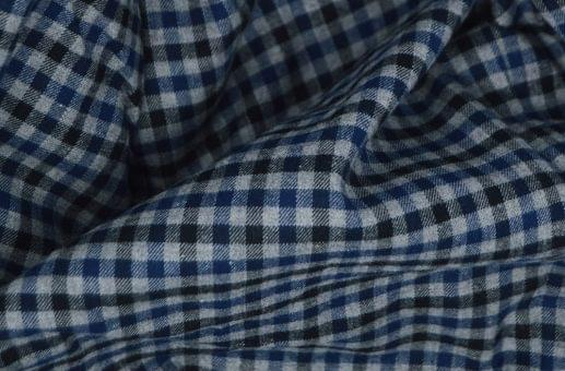 Dark Blue and Black Gingham Flannel