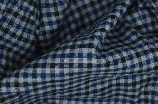 Dark Blue and Black Gingham Flannel Fabric