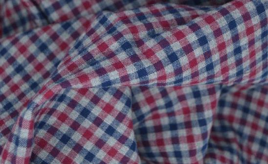 Maroon and Blue Gingham Flannel Fabric