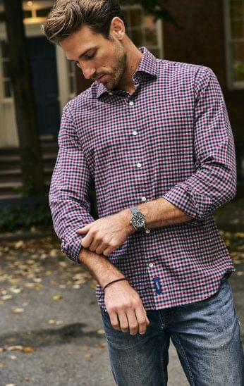 Maroon and Blue Gingham Flannel on Figure