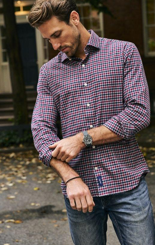 Maroon and Blue Gingham Flannel