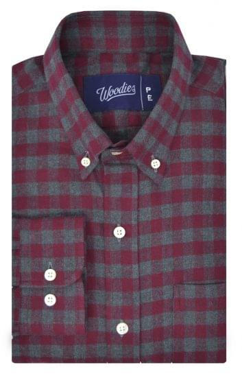 Maroon and Grey Gingham Flannel