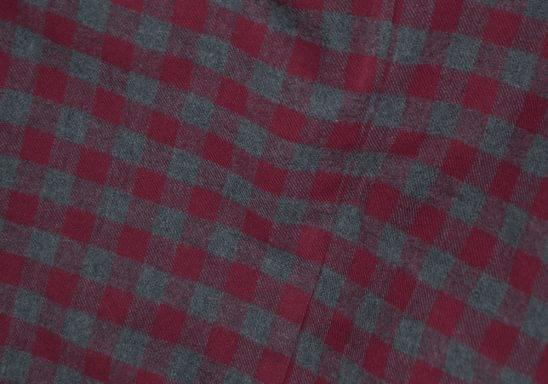 Maroon and Grey Gingham Flannel Fabric