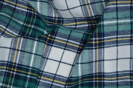 Forrest Green Tartan Flannel Shirt Fabric