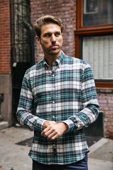 Forrest Green Tartan Flannel Shirt on Figure